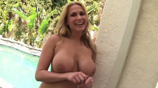 Amazingly shaped Alanah Rae poses on a cam and later gives a blowjob to Sledge Hammer image