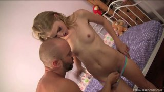 Skinny teen Avril Hall sucks Will Powers's balls and cock image