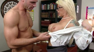 Whorish librarian Brooke Haven seduces a poor student and fucks him image