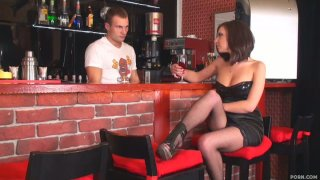 Majestic brunette Ennessi is horny for the sexy bartender Nick image