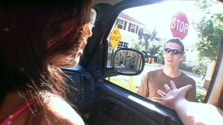 Busty brunette Shy Love gets poked doggy in the car image