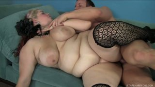 Slutty fatso Buxom Bella pleases a strong cock of horny TJ Cummings image
