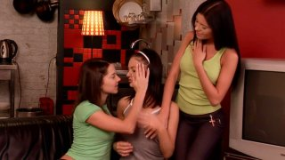 Innocent erotic games of Emily A, Adina and Monchi get out of control image