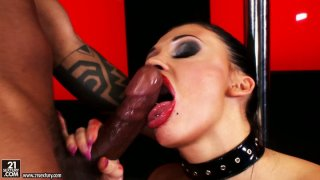 Sassy brunette vixen Aletta Ocean gets her asshole drilled by_black guy image