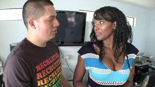Street whore Nyomi Banxxx does her best giving blowjob image