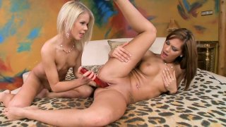 Cipriana and Cherry Pink playing with dildo toy image