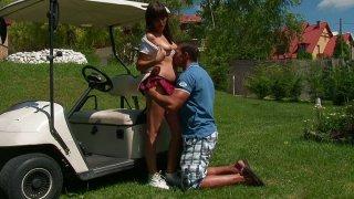 Plump assed girl Rosee enjoys hot outdoor sex_fun image