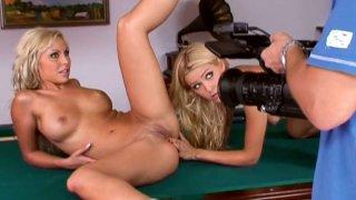 Slutty models Sophie Moone & Adriana Russo masturbates on the_table image