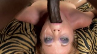 Image: Pale dick sucker Tiffany Sweet gives a solid blowjob to a black tool