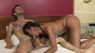 Sexy shemale Kris Alves gives awesome blowjob for anal fingering image