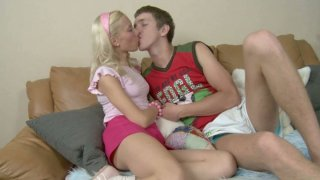 Modest blond girlie Bella turns into a cock addicted_nympho image