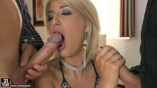 Lascivious blonde Blanche has awesome_threesome with two white guys image