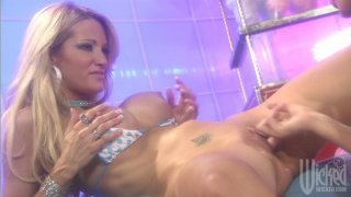 Jessica Drake and Kirsten Price playing hard DP games with_dildoes image