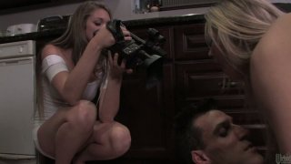 Madison Fox fucks and strokes her boyfriend in the kitchen and makes him cum image
