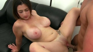 Fluffy brunette Tiffany Cross makes her man to cum on her face image