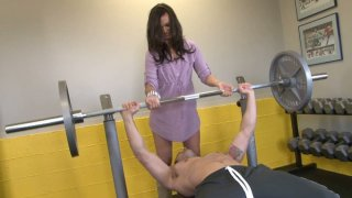 Samuel OToole is having a hot 69 position oral sex with Crissy Moon after a work out image