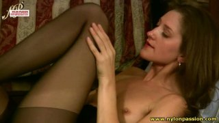 Flat chested  brunette Ganya makes it hot image