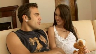 Sweet babe Jenna Presley seduces a guy and sucks his dick deepthroat image