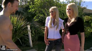 Nikki Benz and Monique Alexander start pleasing each_other outdoors and invite a stranger to join them image