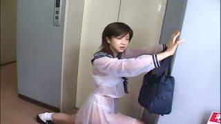 Stupid Jap teen Aki Hoshino rides subway in the sailor outfit image