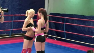 Mean blonde bitch Niky Gold is involved in nude fight fun image