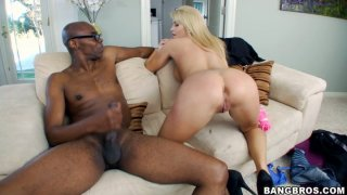 Massive black dick drills Jessica Nyx's horny cunt and covers her butt with white cream image
