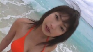 Orange swimming suit fits on Arisa Oda's saucy pale skin body image