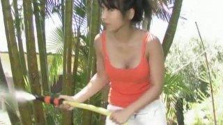 Having fun on the backyard with dainty cutie Arisa Oda image