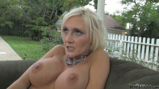 Image: Busty blonde milf Torrey Pines joins two handsome_bisexual guys