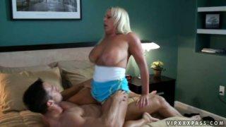BBW mom Alexis Golden pleases her buff stud's massive cock image