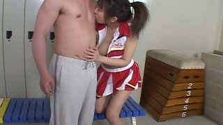 Young Japanese gal Ai Yumemi's hairy pussy gets fingered in locker room image