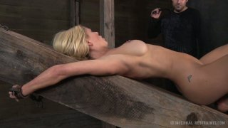 Image: Tremendous blonde MILF Cyd Black_gets her muff tortured on_the wooden brick