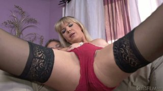 Professional shemale seductress Lora Hoffman performs a hot private dance and gives_deepthroat blowjob image