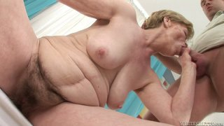 Fat milf Maria E gets her pussy fucked by young dude image