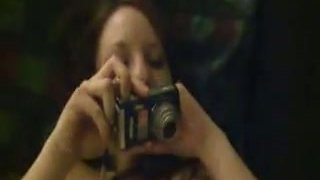 Image: Cute brunette taking pictures of her pussy and giving blowjob