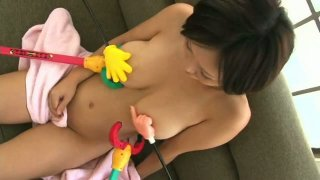 Gays playing with beautiful busty chick Anri-Chan image