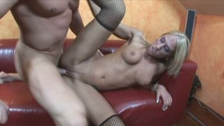 Girlie in stockings Dionne Darling jumps on the hot tool joyfully image