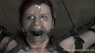 Image: Claire Adams films in a hardcore BDSM video showing her abilities to take rough actions on her body