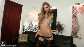 Wondrous wanker with nice tits Abbie has a dildo for her pussy image