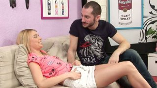 Titless blondie Chloey gets cunnilingus and sucks a cock as a repay image