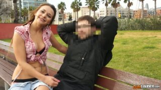 Provocative slut pulls down her_panties right in the park image