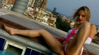 Seductive bitchie blondie Liz Honey rides a dick on the roof image