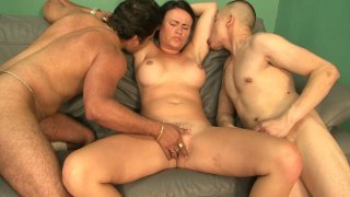 Image: Full figured brunette gal Ashli Ames in a hot threesome