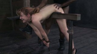 Village girl Claire Robbins experiences BDSM threesome image