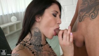 Sex-hungry Erika Bellucci rides on her hubby's sturdy cock image