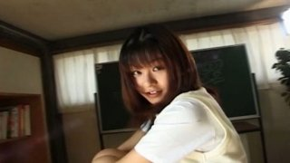 Chubby face Eiri Ueno teases you showing what is under her skirt image