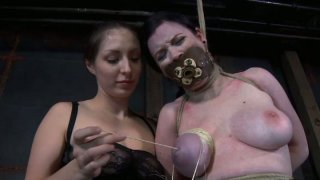 Image: Busty pallid chick Sybil Hawthorne gets hogtied and treated bad
