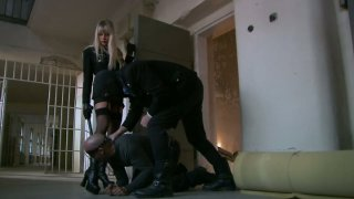 Bodacious blonde mistress Natalli Di Angelo works on two fat pricks image