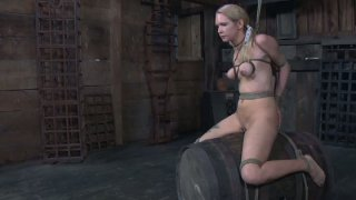 Horny blonde Rain DeGrey sits on the_barrel all naked and tied image