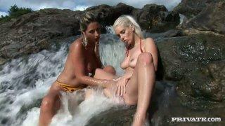 Daria Glower in hot lesbian sex video by Private image